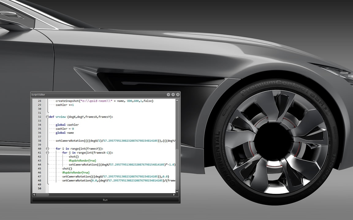 Customize VRED product rendering and 3D visualization software with a scripting API and command terminal