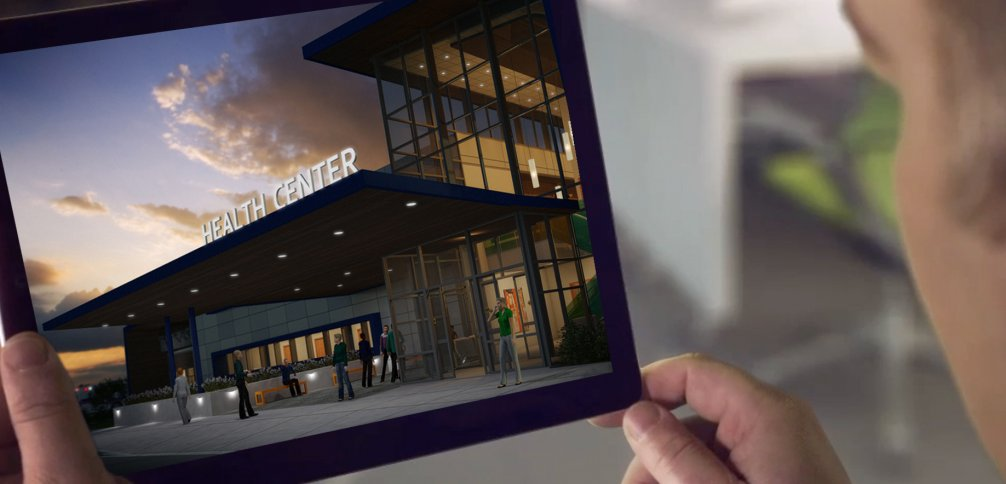 Renderização arquitetônica de um centro de saúde vista pelo tablet