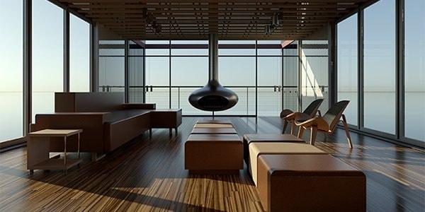 Renderização arquitetônica do interior de uma sala