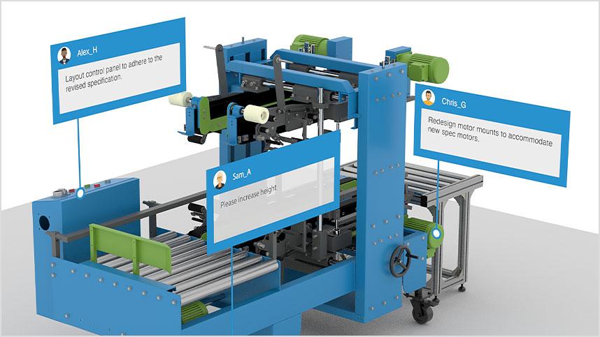 Ortakların açıklamalarının verildiği endüstriyel makine modeli.