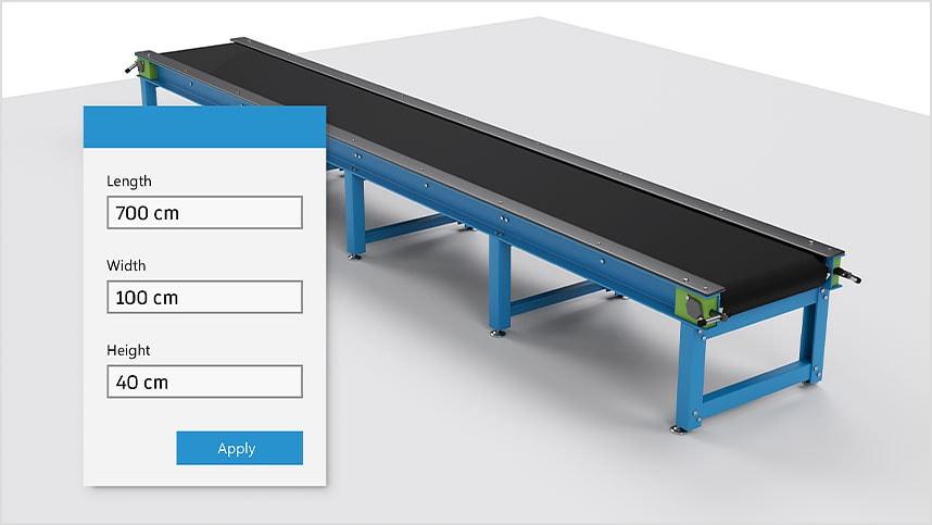 Farklı özelliklere göre yapılandırılmış endüstriyel konveyör.