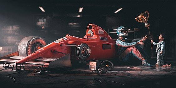 imagen de un auto de carreras producida con cgi