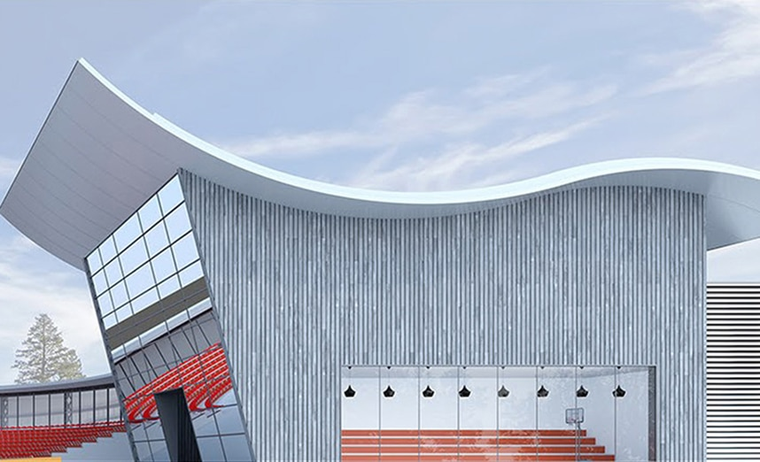 Planung eines Sportzentrums mit 2D-zu-3D-Software