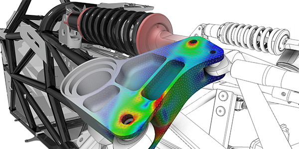 オートデスクの 3D CAD/CAM で行えるメカニカルシュミレーションの解析イメージ
