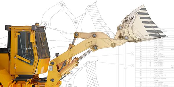 オートデスクの 3D CAD で設計をしたパワーショベルのイメージ
