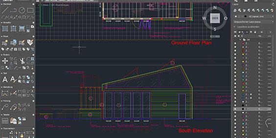 floor plan of building in AutoCAD software