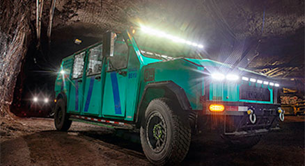 Electric vehicle in a mine