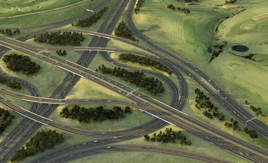 An aerial view of a complex highway intersection, created in Civil 3D