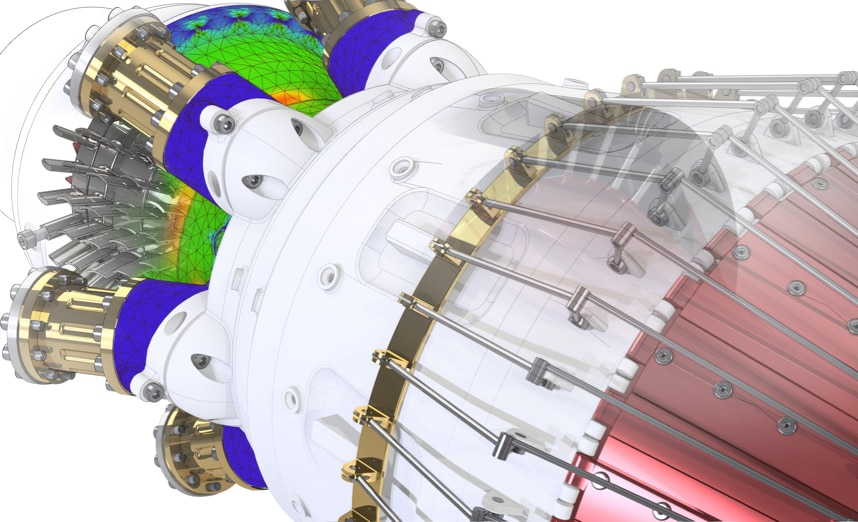 A render of a jet engine, showing a section in the simulation process, to identify issues or challenges with the design