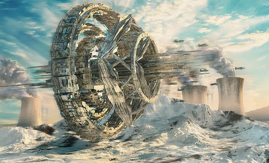细节渲染的以科幻电影为基础的一艘星际飞船,悬停在白雪覆盖的山脉上方,在 Autodesk 3DS Max 中创建