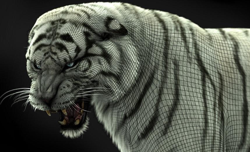 Una estructura alámbrica con un tigre blanco rugiendo muy detallado en proceso de creación en Maya