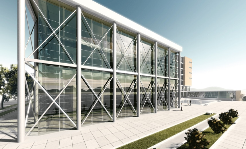 A life-like render of a contemporary building featuring metal struts, created in Revit