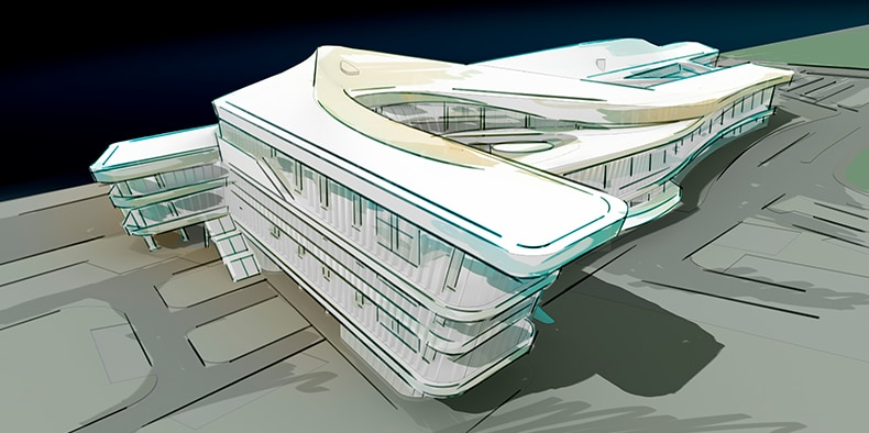 Illustration of Tianjin International Cruise Terminal Building.