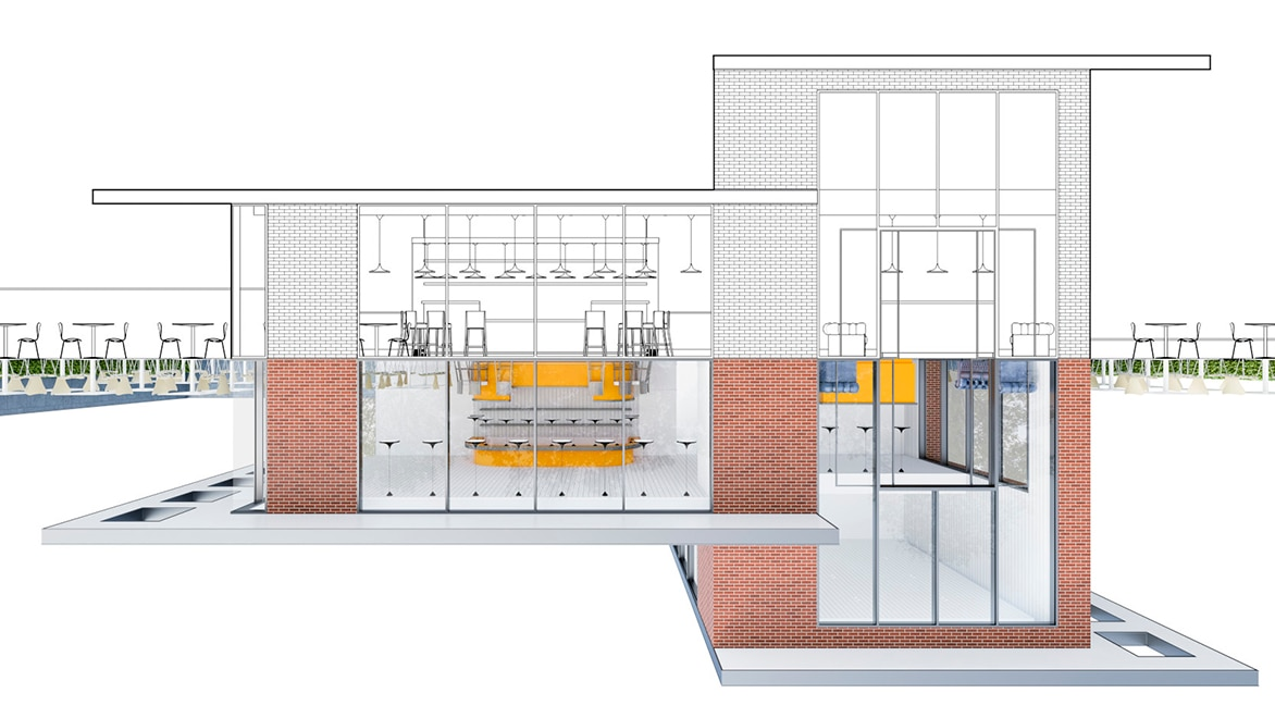 Rendering of a cafe created using AutoCAD