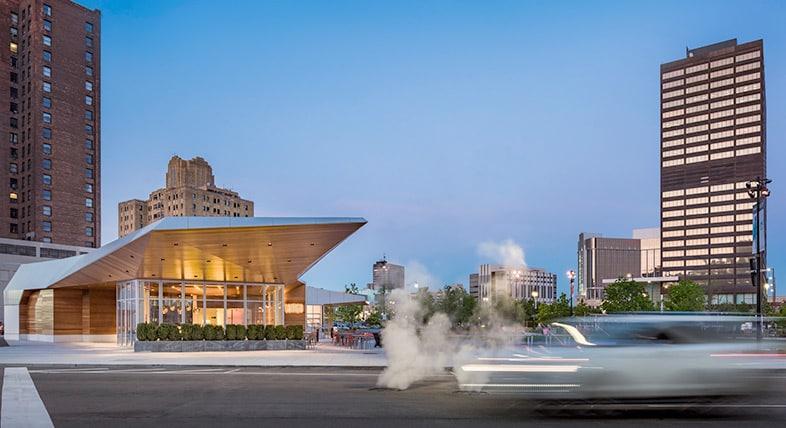 Detroit's Beacon Park features the award-winning Lumen restaurant building