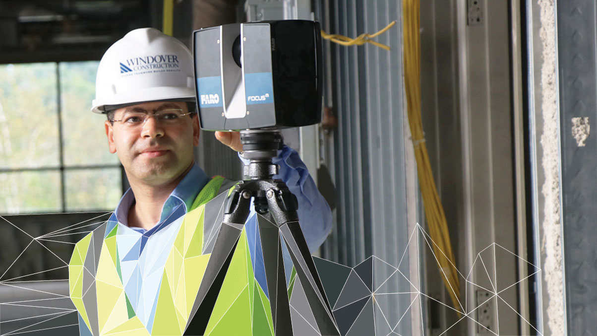 Amr Raafat working at contruction site with low poly design applied
