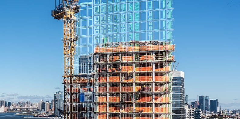 A cityscape view of a crane and construction site with a rendered drawing over the building
