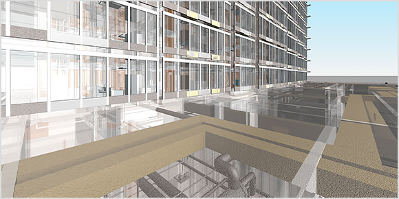 A digital and rendered design of a glass building structure