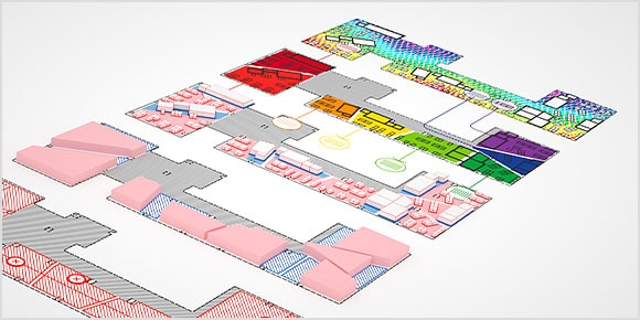 Various rendered floor plans including different functionalities within each one