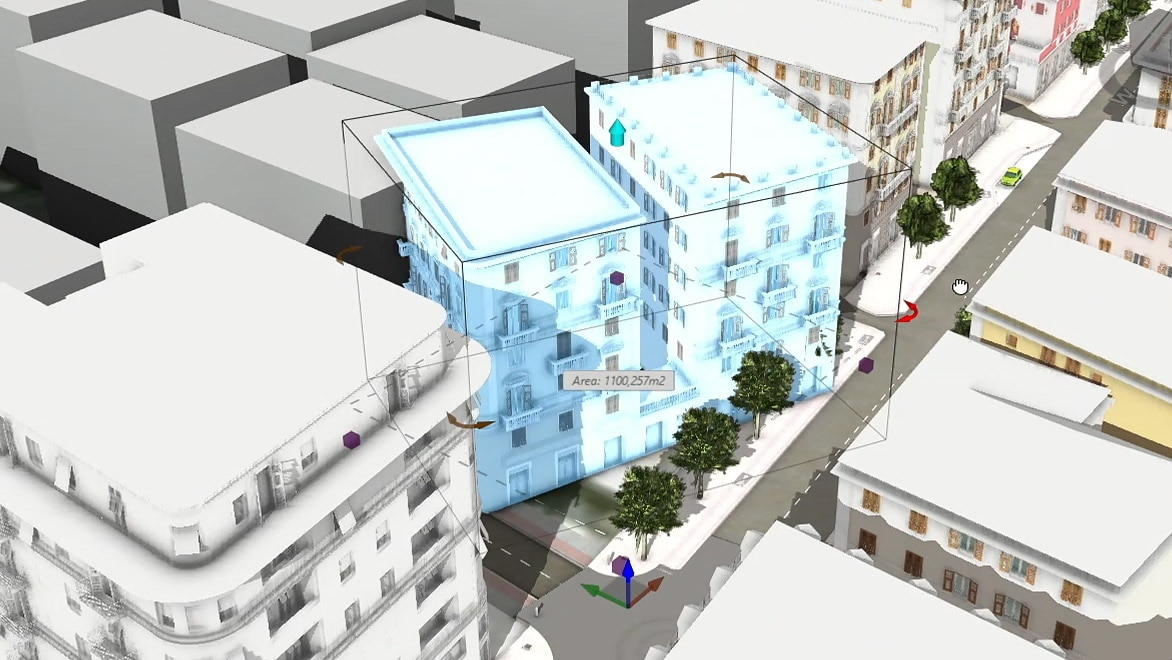 A 3D design layout of city streets and buildings including software tools and navigation options.