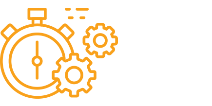 Icon of a stopwatch with gears
