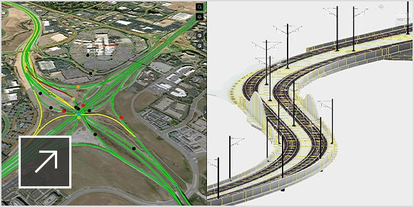 Rail project design and map scene views in web app.