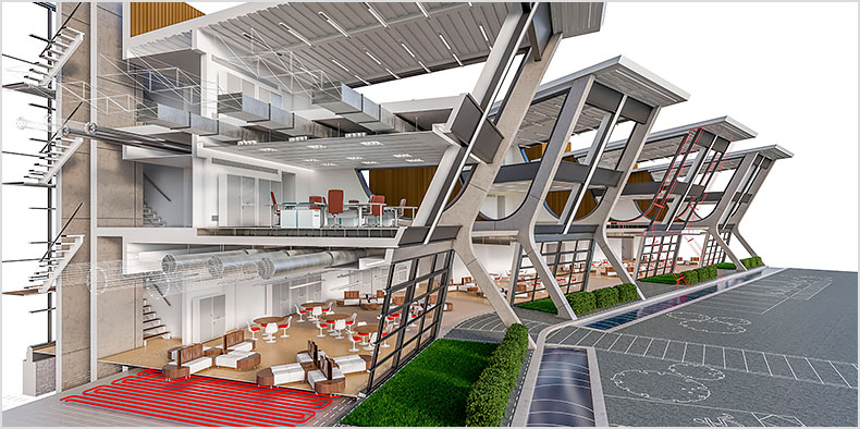 Rendering of an open office building with a cross section cut out showing the interior space and landscape design.