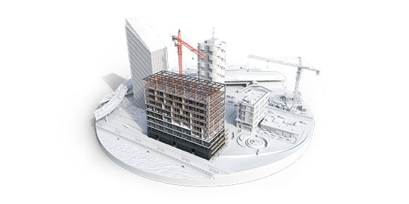 A rendered 3D design of a cityscape being built, including roads, waterways, buildings, and other infrastructure.