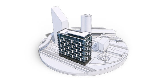 A rendered design of a cityscape including roads, waterways, buildings, and other infrastructure.