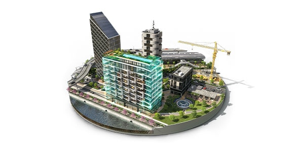 A rendered design of a fully operational cityscape, including roads, waterways, buildings, and other infrastructure.