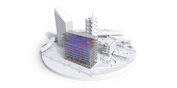 A rendered 3D plan of a cityscape including roads, waterways, buildings, and other infrastructure.