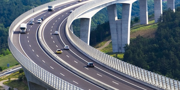 Curved highway viaduct in Slovenia
