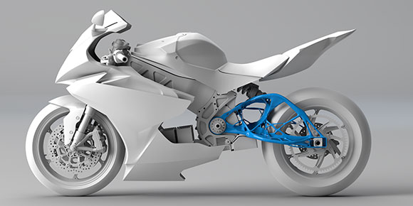 Renderização 3D de motocicleta relâmpago