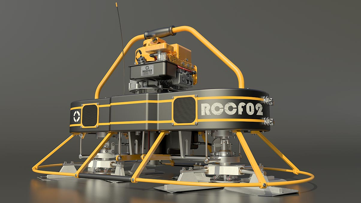 Rendering of a remote control concrete finisher created in Inventor