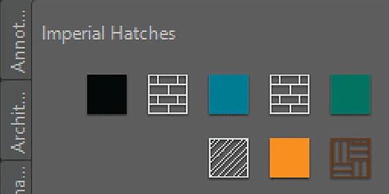 Screen capture of AutoCAD tool palettes displaying Imperial Hatch patterns
