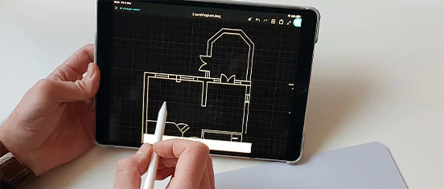 floor plan on autocad lt software shown on tablet