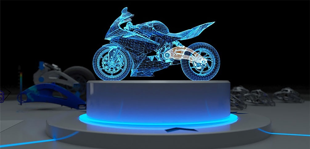 rendering of motorcycle using manufacturing data