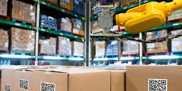 Manufacturing warehouse visualizing management of supply chain