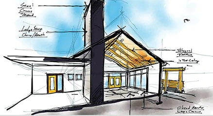 Concept d'esquisse d'un bâtiment créé dans SketchBook