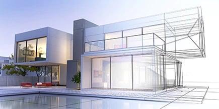 Rendu3D d'une maison de luxe avec rendu et image filaire réalistes contrastés.