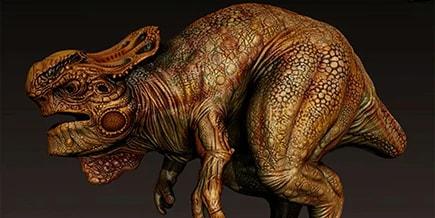 dessin numérique d'un dinosaure dans Mudbox