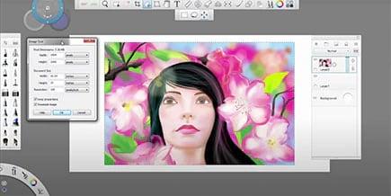 peinture numérique d'une femme dans Sketchbook