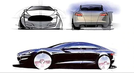 Concept d'esquisse de la Tesla ModelS créée dans Sketchbook