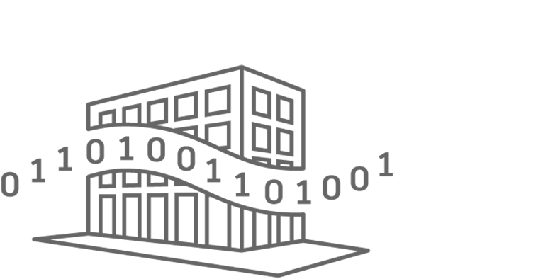 icon showing a building with digital numbers going through it