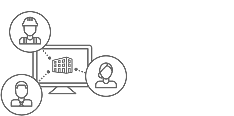 Icon showing a computer screen with 3 people icons pointing to it.