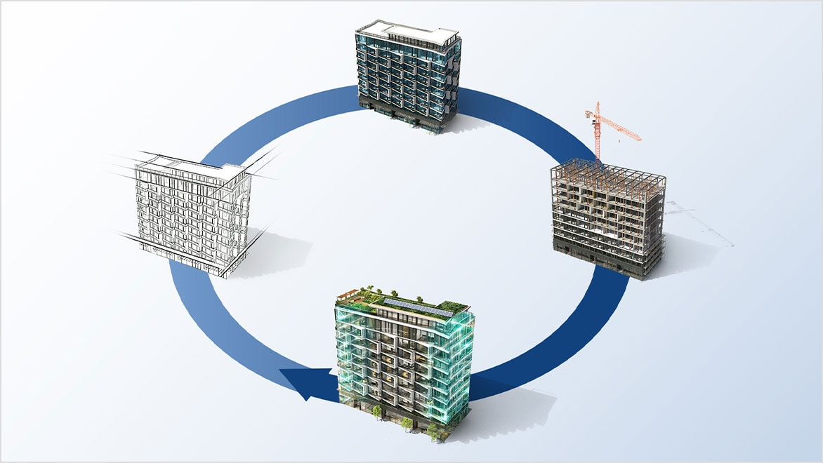 Diagram of building phases: plan, design, build and operate.