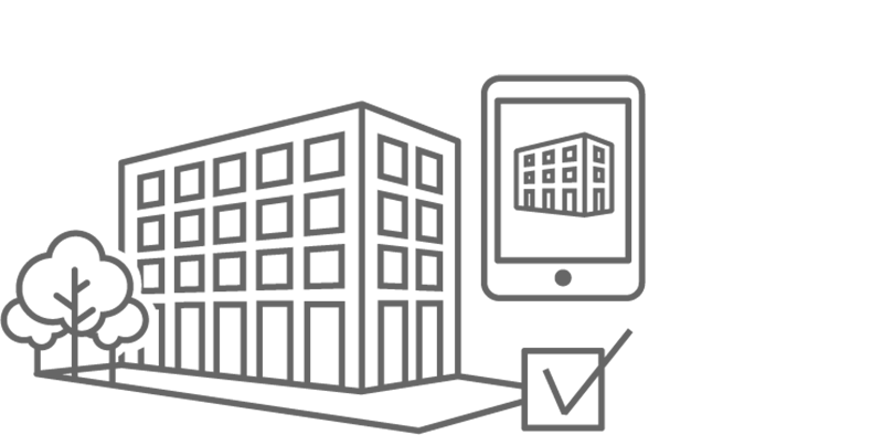 Icon showing a building, a check mark and an iPad demonstrating operational readiness