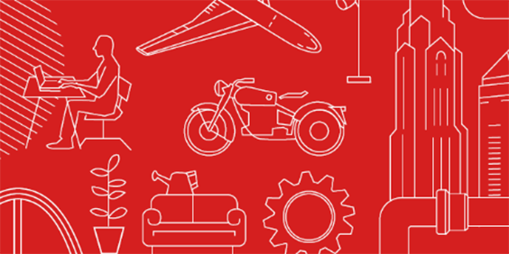 红色背景上的 AutoCAD 图像