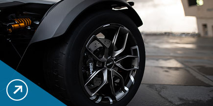 Detail view of a high-end performance tire on a sports car