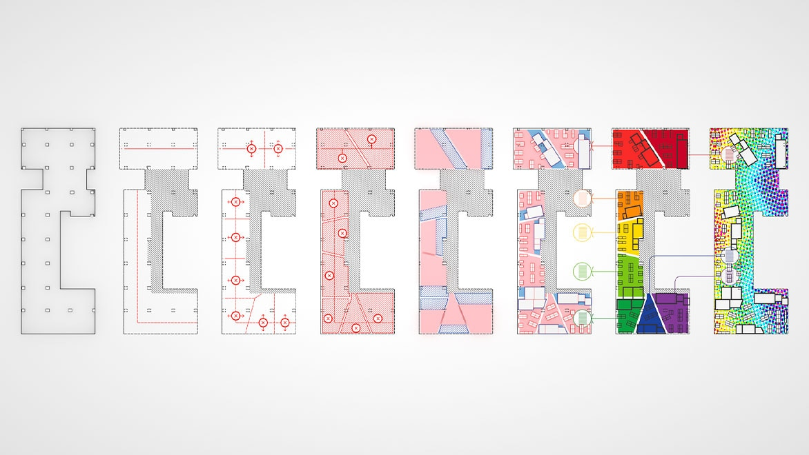 A floorplan design with eight versions adding new layers and functions to each floorplan.